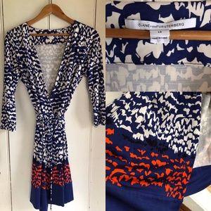 NWOT DVF wrap dress red/white/blue sz 14